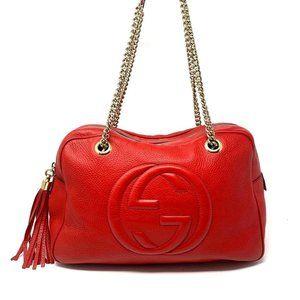 100% Auth Gucci Soho Red Calfskin Shoulder Bag